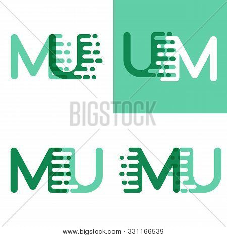 Mu Letters Logo With Accent Speed In Light Green And Dark Green