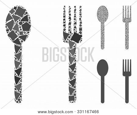 Fork and spoon mosaic of joggly parts in different sizes and color tints, based on fork and spoon icon. Vector unequal parts are organized into collage. poster