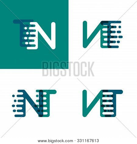 Nt Letters Logo With Accent Speed In Green And Dark Purple