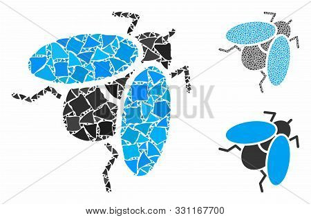 Fly Insect Mosaic Of Raggy Elements In Different Sizes And Shades, Based On Fly Insect Icon. Vector