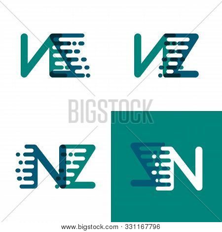 Nz Letters Logo With Accent Speed In Green And Dark Purple
