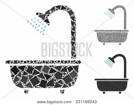 Bath Shower Composition Of Bumpy Parts In Different Sizes And Color Tinges, Based On Bath Shower Ico