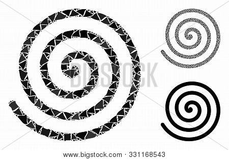 Spiral Mosaic Of Bumpy Pieces In Various Sizes And Color Tints, Based On Spiral Icon. Vector Tuberou
