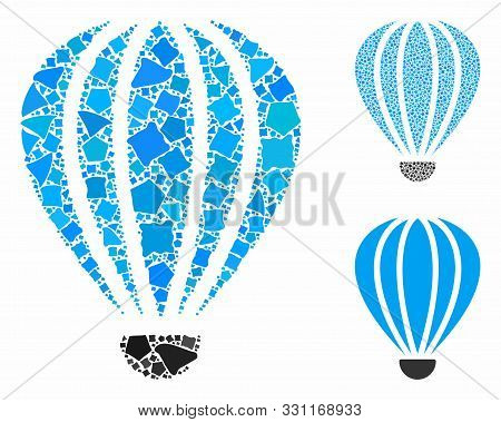 Aerostat Mosaic Of Joggly Elements In Variable Sizes And Color Tinges, Based On Aerostat Icon. Vecto