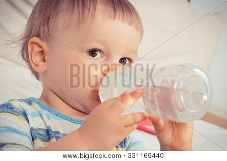 Vintage Photo, Thirsty Little Baby Boy Drinking Water From Bottle