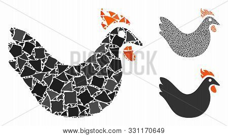Hen Composition Of Trembly Elements In Various Sizes And Color Tinges, Based On Hen Icon. Vector Tre