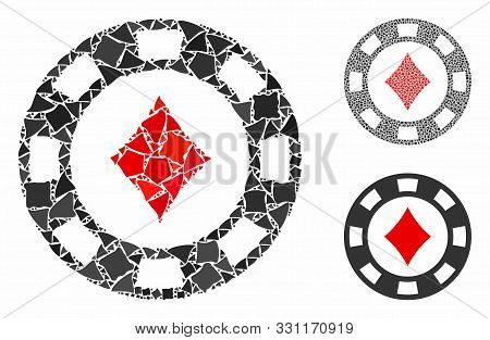 Diamonds Casino Chip Mosaic Of Abrupt Pieces In Variable Sizes And Color Hues, Based On Diamonds Cas