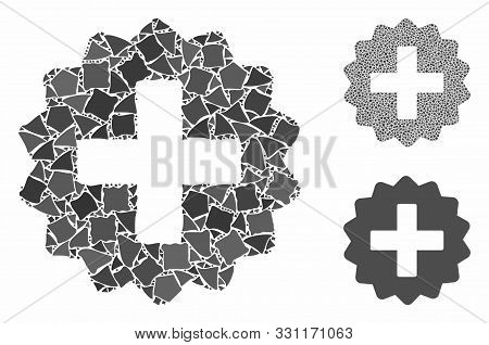 Create Mosaic Of Tremulant Pieces In Various Sizes And Color Tones, Based On Create Icon. Vector Tre