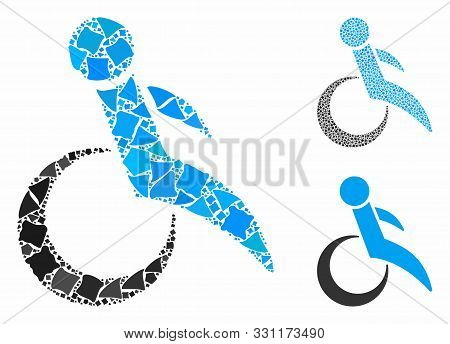 Wheelchair Mosaic Of Ragged Elements In Various Sizes And Color Tints, Based On Wheelchair Icon. Vec