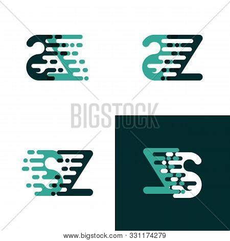 Sz Letters Logo With Accent Speed In Light Green And Dark Green