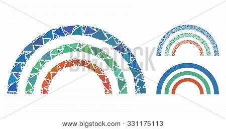 Color Arc Composition Of Uneven Elements In Different Sizes And Color Hues, Based On Color Arc Icon.