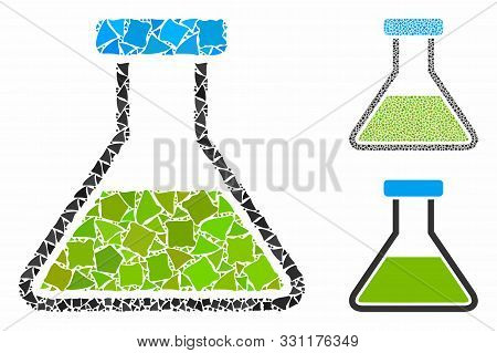 Green Wide Flask Mosaic Of Humpy Pieces In Various Sizes And Color Hues, Based On Green Wide Flask I