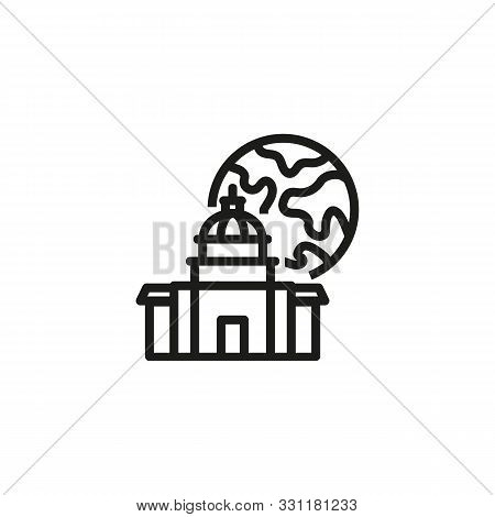 Modern Government Line Icon. Building, Administration, Planet. Government Concept. Vector Illustrati