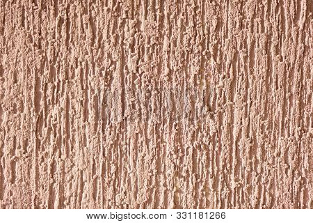 Brown Background Facade Plaster. Exterior Building Structure Backdrop. Silica Sand Cement Wall.