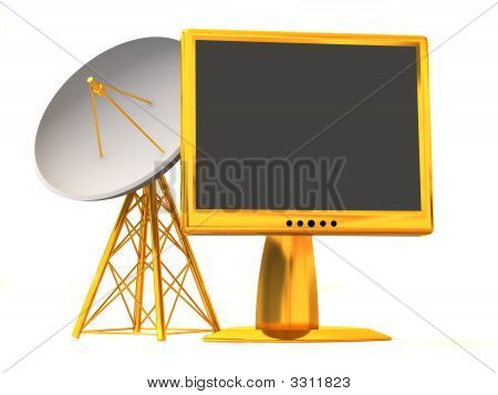 Satellite With Monitor. 3D