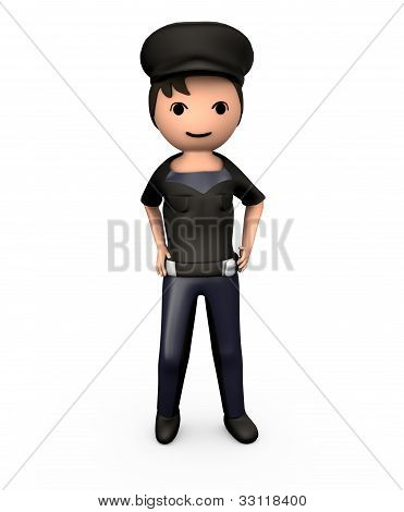 3D Young Male Policeman