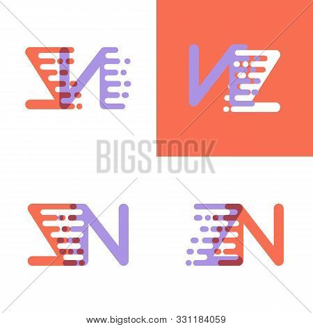 Zn Letters Logo With Accent Speed Orange And Lavender
