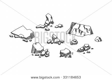 Set Of Hand Drawn Cartoon Stones. Cobblestones Of Various Shapes. Groups Of Large And Small Stones A