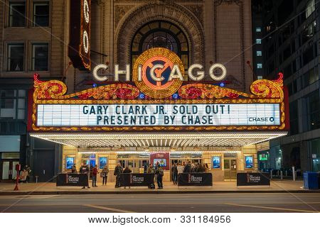 Chicago, Illinois, Usa - March 2019: The Chicago Theater On March 16, 2019 At State Street In Chicag