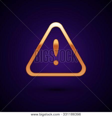 Gold Exclamation Mark In Triangle Icon Isolated On Dark Blue Background. Hazard Warning Sign, Carefu