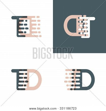 Td Letters Logo With Accent Speed Pink And Gray