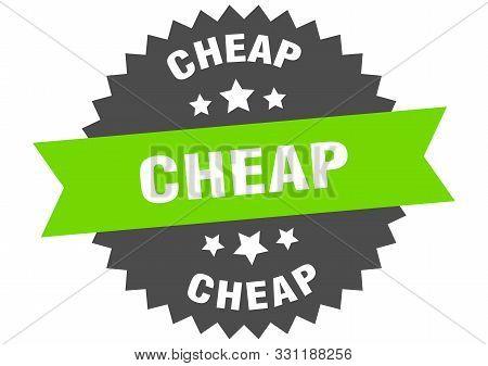 Cheap Sign. Cheap Green-black Circular Band Label