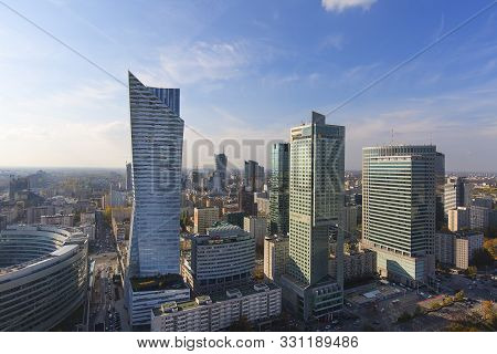 Warsaw, Poland -october 18, 2019: Aerial View Of The Modern Buildings Of The City, Residential And O