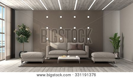 Living Room With Modern Furniture And Led Light On Wooden Ceiling - 3d Rendering