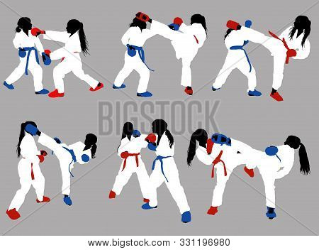 Karate Girls In White Kimonos And Red And Blue Belts And Protective Ammunition Sparring Against A Gr