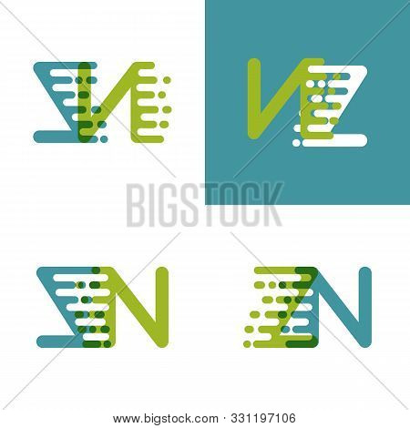 Zn Letters Logo With Accent Speed Green And Blue