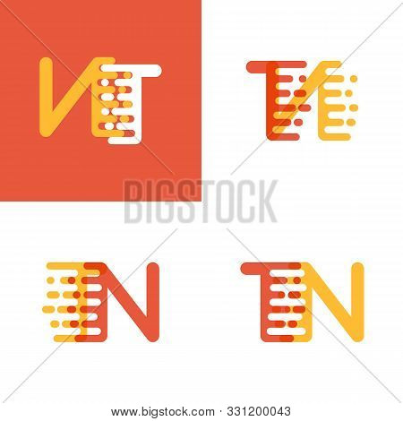 Tn Letters Logo With Accent Speed Soft Orange And Yellow