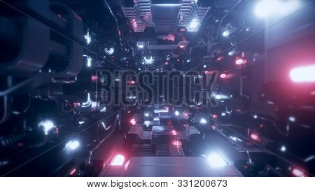 Flying Into Spaceship Tunnel, Sci-fi Spaceship Corridor. Futuristic Technology Abstract Seamless Vj