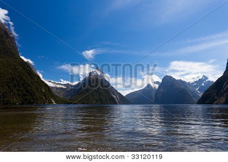 Milford Sound and Mitre Peak in Fjordland NP, NZ