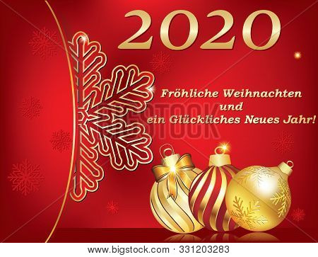 Merry Christmas And A Happy New Year 2020, Red Greeting Card With Text Written In German, Designed F
