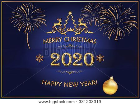 Christmas And New Year 2020 Greeting Card With Elegant, Simple Design - Golden Text And Decorations