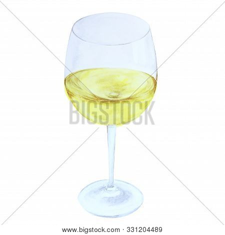 White Wine In Glas, Watercolor Illustration Isolated On White Background