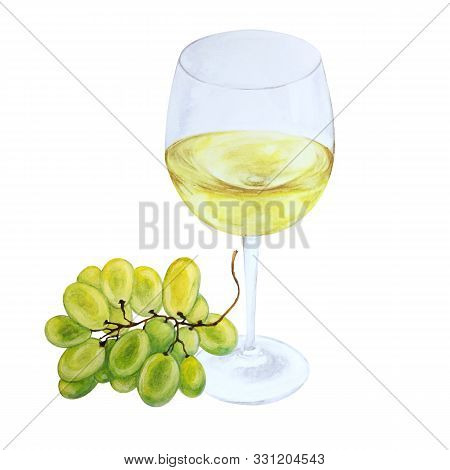 White Wine In Glas And Grapes Brush, Watercolor Illustration, Isolated On White Background
