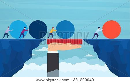Businessman Pushes Red Sphere, Overtaking Competitors, Overcoming Difficulties. Concept Of Winning S