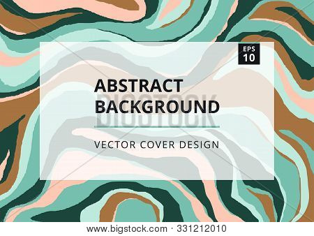 Fashion Abstract Background With Green Malachite Texture. Modern Design Template With Freehand Strip