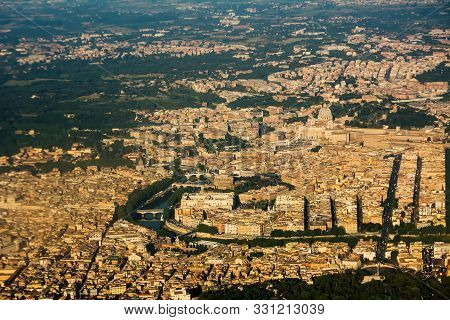 Top View Of The Rome Area With The Vatican And San Pietro, The Tiber And Castel Sant'angelo