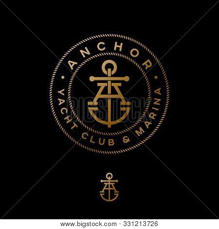 A Monogram. Anchor Logotype. Logo Of Yacht Club, Maritime Emblem. Crossed Letter A And Anchor Into R