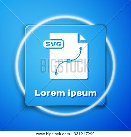White Svg File Document. Download Svg Button Icon Isolated On Blue Background. Svg File Symbol. Blue