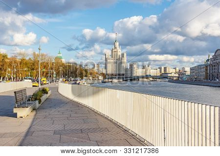 Moscow, Russia - October 08, 2019: Landscape Of Moscow Historical Center In Sunny Autumn Day. Stalin