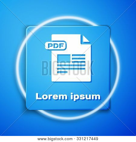 White Pdf File Document. Download Pdf Button Icon Isolated On Blue Background. Pdf File Symbol. Blue