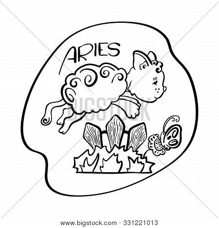 Aries Astrological Zodiac Sign With Cute Cat Character. Aries Vector Illustration On White Backgroun