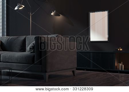 Transparent Photo Frame With Blank Poster On Dark Walls Near Black Couch, 3d Rendering. Living Room