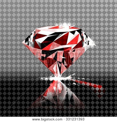 Beautiful Red Gemstone Ruby On A Transparent Background. Vector Illustration.