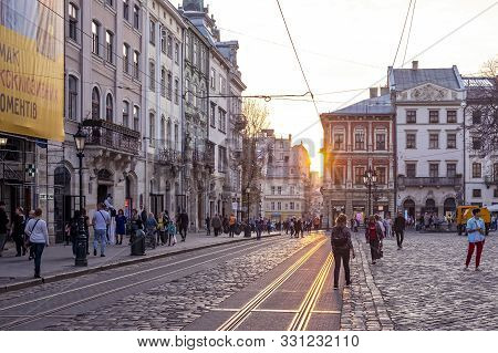 Lviv, Ukraine - October 22, 2019: People Walk On The Market Square. Market Square Is The Cultural An