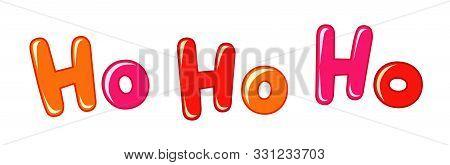 Ho-ho-ho Xmas Banner. Horizontal White Background And Bright 3d Ho-ho-ho! Decorative Red Letters. Is