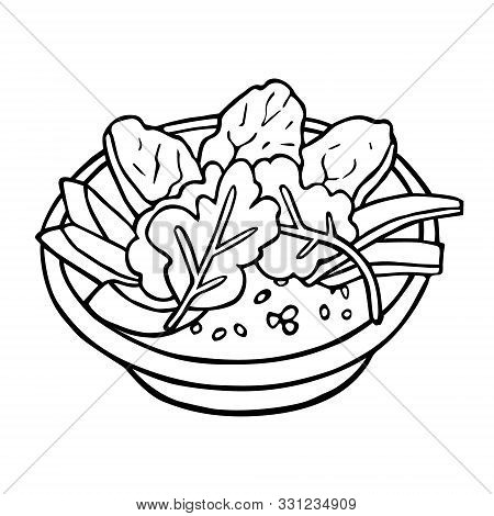 Line Art Of Healthy Bowl Hand-drawn In Cartoon Style, Black Artwork Isolated On White Background, In